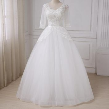 Half Sleeves V-neck Wedding Dress Tulle A-line Beading Sequins Tulle Bridal Gowns