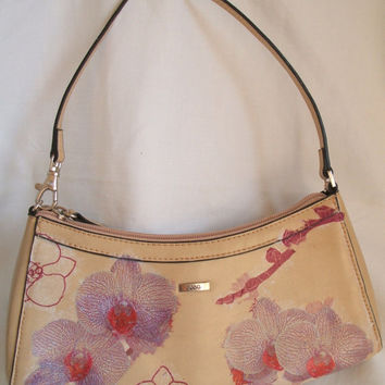 Slimline upcycled purse by JAG, embellished floral purse, orchid purse, beige purse, small ladies handbag, mothers day gift