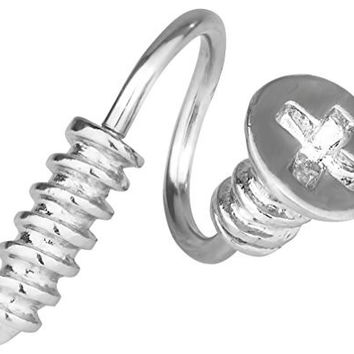 14g Surgical Steel 5/16 Inch Spiral Screw Belly Button Ring