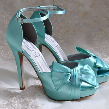 "Wedding Shoes, Aqua Blue Color Wedding Shoes, 4"" Heel Bridal Shoes - Peep Toe Heels-Wedding heels"