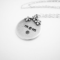 Mothers Necklace Hand Stamped Mother Mom Mama Necklace Pewter Necklace Sterling Silver Chain Gift Idea For Mothers Day Everyday Necklace