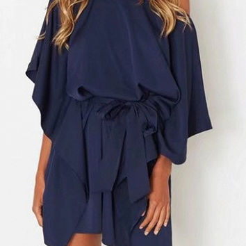 Navy Self Tie One Shoulder Cape Sleeve Dress