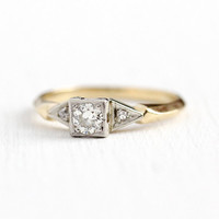 Vintage Engagement Ring - 14k Yellow & White Gold 1/5 Carat Old European Cut Diamond - 1940s Size 6 1/2 Two Tone Wedding Fine 40s Jewelry