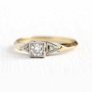 Vintage Engagement Ring - 14k Yellow   White Gold 1 5 Carat Old fbf2b4b09
