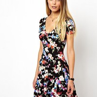 ASOS '90s Button Through Skater Dress In Foral - Multi
