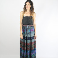 90s Hippie Broomstick Skirt, Indigo Indian patchwork Gypsy skirt, Medium Large 519