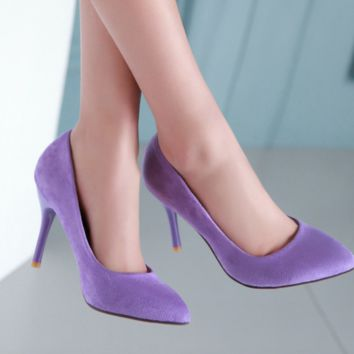 Pointed toe classic suede heels ~ 4 colors!