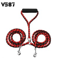 Nylon Durable Double Dual Pet Dog Puppy Cat Strap Rope For Strolling No-Tangle Walk Lead Leash With Coupler  Mixed Colour