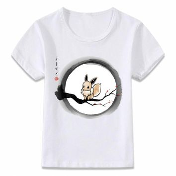 Kids Clothes T Shirt Pokemon Under The Moon Eevee Psychic Children T-shirt for Boys and Girls Toddler Shirts Tee
