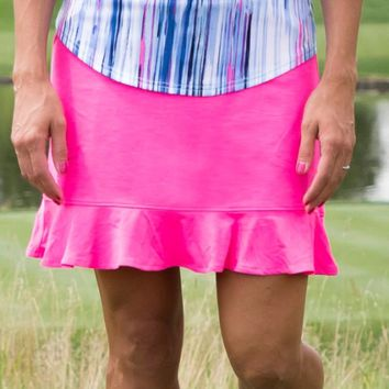 JoFit Ladies & Plus Size Millie Long Pull On Golf Skorts - Champagne (Tropical Pink)