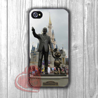 Walt Disney and Mickey Mouse statue in front of Castle -d4n for iPhone 4/4S/5/5S/5C/6/ 6+,samsung S3/S4/S5,samsung note 3/4