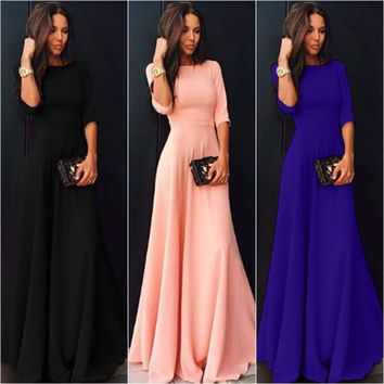 Womens Chiffon 3/4 Sleeve Formal Evening Party Prom Ball Gown Long Maxi Dress