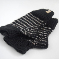 wool free vegan wristwarmers-- the condyle fingerless gloves in black and tweed style grey stripes