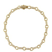 Round Rectangle Bracelet - Yellow Gold