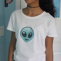 Alien Emoji Crew Neck T-Shirt