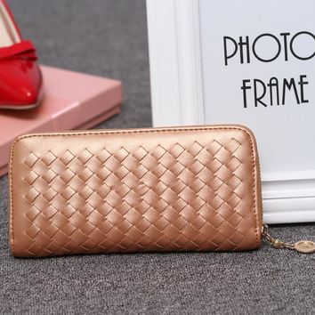 England Style Woven leather Women Wallets Gold Color Designer Brand Wallet For Ladies' Fashion Phone Bags Coin Purses RF518