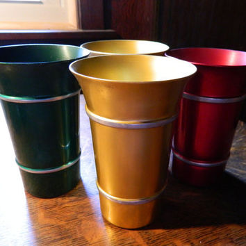 Set of 4 Jewel-Tone Retro / Mid Century Aluminum Tumblers made by Melkraft