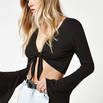 LA Hearts Tie Front Bell Sleeve Top at PacSun.com