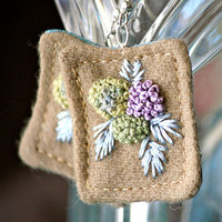 Hydrangea Fiber Earrings Textile Hand embroidery tagt by Waterrose