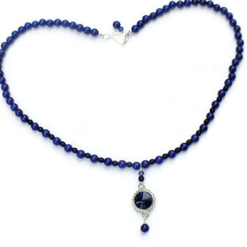 Navy Blue Jade Necklace, Swarovski Necklace, Blue & Black Gemstone Necklace, Czech Necklace