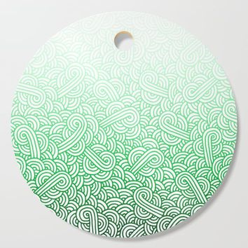 Gradient green and white swirls doodles Cutting Board by savousepate