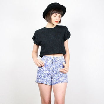 Vintage Floral Shorts 1980s 80s High Waisted Shorts Denim Shorts Jean Shorts Blue White Cut Offs Floral Print Denim Festival XS Extra Small