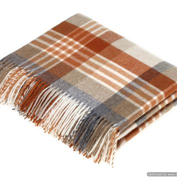 Merino Lambswool Throw Blanket - Melbourne - Saffron, Made in England