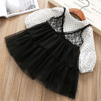 Baby Girl O-Neck dot Dress lace Clothes Children Long Sleeve clothing Kids mesh Casual cotton Dresses