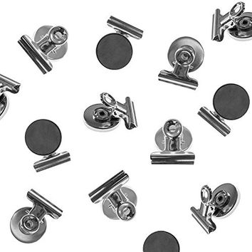 Heavy Duty Mini Silver Refrigerator Magnet Clips - Pack of 8