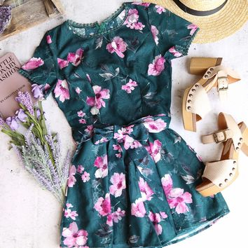 belmont shore floral romper - forest green