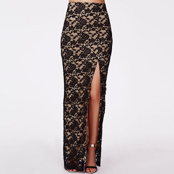 Black Floral Lace  Crochet Side Slit Maxi Skirt