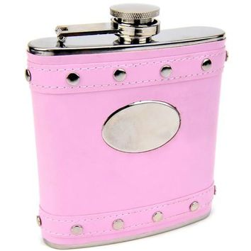 Pink Leather Studded Flask (Personalized)