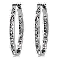 Fashionable & Gorgeous Simple Style Circular Shape Earrings with Crystal Rhinestone (Silver)