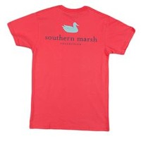 Southern Marsh Authentic SS Pocket Tee in Strawberry Fizz