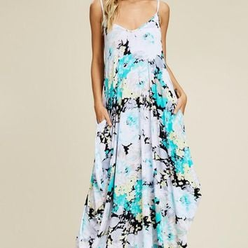Watercolor Floral Maxi Dress - Mint