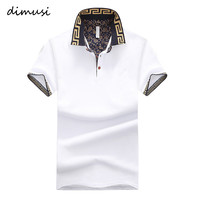 DIMUSI Summer  POLO Shirt Men Cotton Stand Collar Short Sleeve Shirts Camisas Polo Solid Slim Mens Polo Tops Tee 5XL,YA610