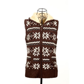 Coffee Colored Zippered Snowflake Jacquard Hooded Waistcoat