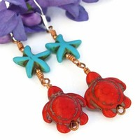 Turtle Earrings Handmade Red Turquoise Magnesite Starfish Jewelry OOAK