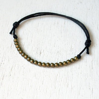 Antique Brass Beads Bracelet / Beads Anklet (many colors to choose)
