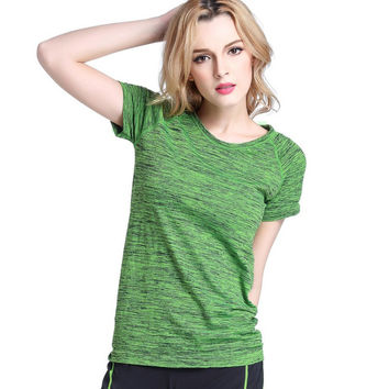 Short Sleeves Hygroscopic Quick Dry Fitness T-shirt