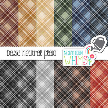 Plaid Digital Paper - diagonal pastel plaid patterns in navy, olive, rust, brown & grey - masculine tartan scrapbook paper - commercial use