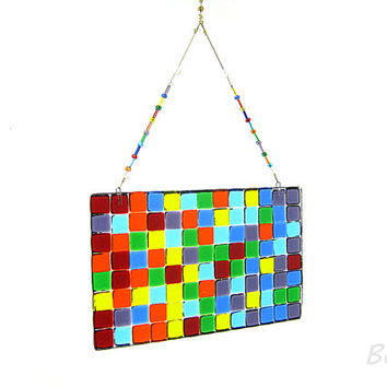 Random Rainbow Mosaic Suncatcher,Rainbow Glass,Glass Art