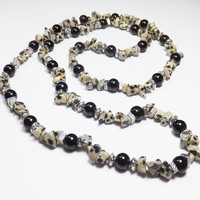 Dalmatian Jasper Necklace with Black Glass Beads and Silver-Plated Beads