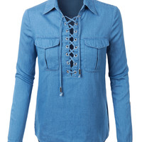 LE3NO Womens Chambray Long Sleeve Denim Lace Up Tunic Top with Pockets
