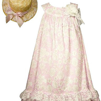 Bonnie Jean Little Girls Pink Vintage Style Float Dress with Hat 4