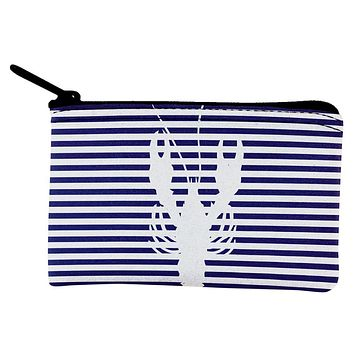 Lobster Navy Nautical Stripes Coin Purse