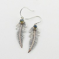 Labradorite Sterling Silver & Copper Leaf Earrings