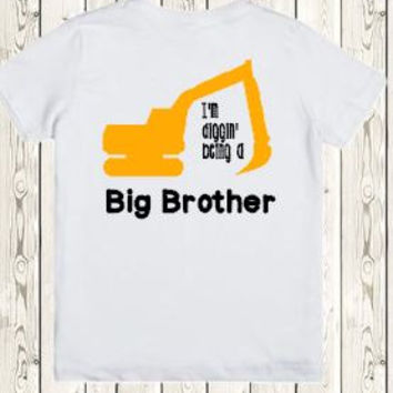 Big brother construction truck Onesuit ® brand bodysuit or shirt I'm digging being a big brother - matching little brother shirt available