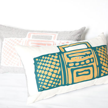 Let the Beat Drop - boom box, hand printed organic pillow, 12x20
