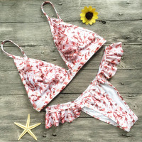 Print Strap Lace Beach Bikini Set Swimsuit Swimwear